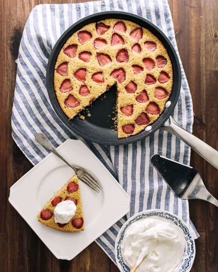 Strawberry Cornbread Cake