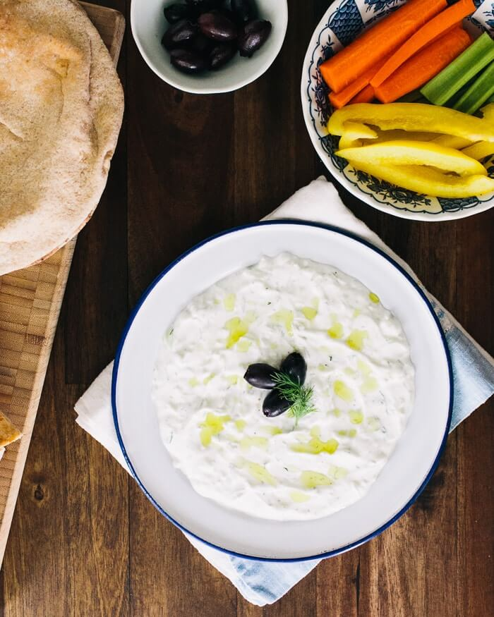 Tzatziki (Greek Yogurt Cucumber Dip) | A Couple Cooks