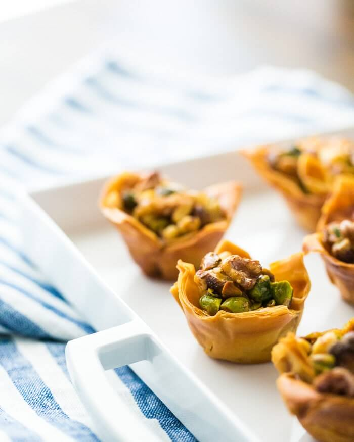 Baklava Cups (+ Homemade Mini Filo Cups) | A Couple Cooks