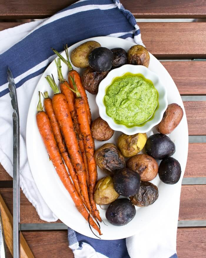 Grilled Potatoes and Carrots with Herb & Feta Pesto | A Couple Cooks