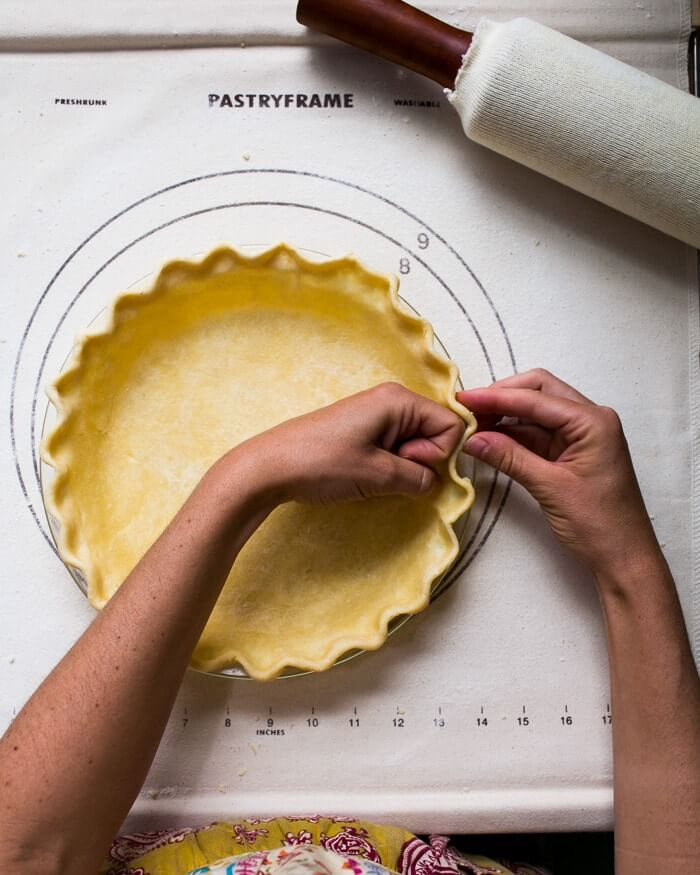 Shaping the pie crust