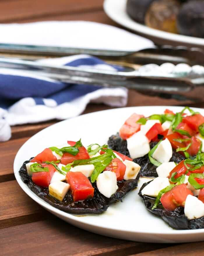 Grilled Balsamic Portabellos with Fresh Caprese Topping | A Couple Cooks