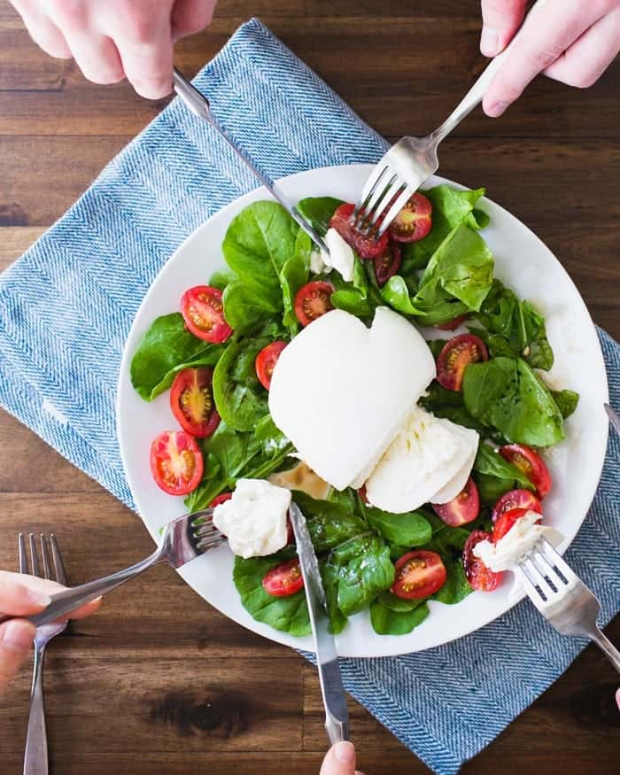 Burrata with Tomatoes and Arugula | A Couple Cooks