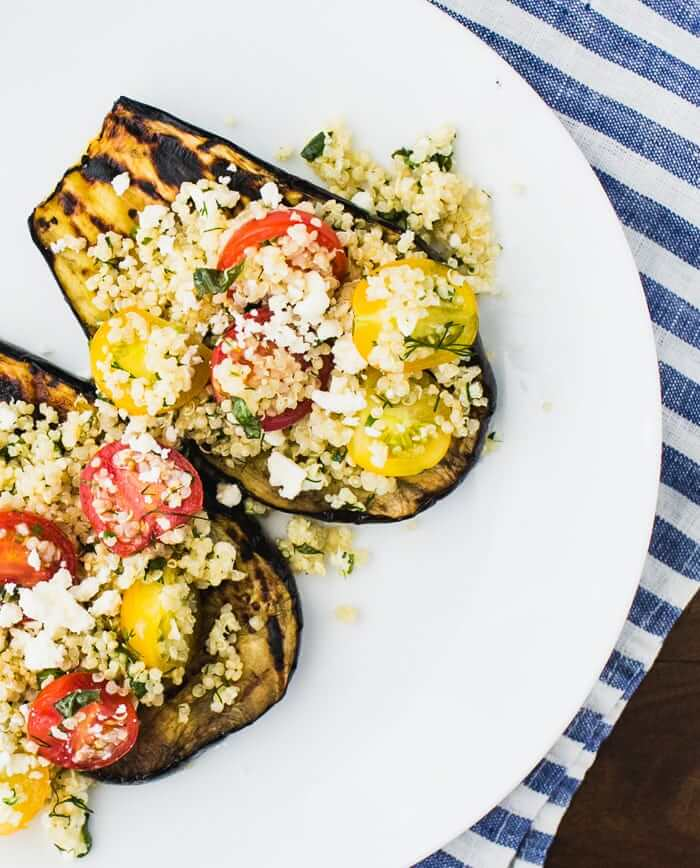 Grilled Eggplant with Herbed Quinoa and Cherry Tomatoes ...
