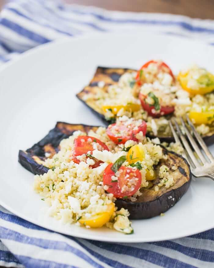 Grilled Eggplant with Herbed Quinoa and Cherry Tomatoes | A Couple Cooks