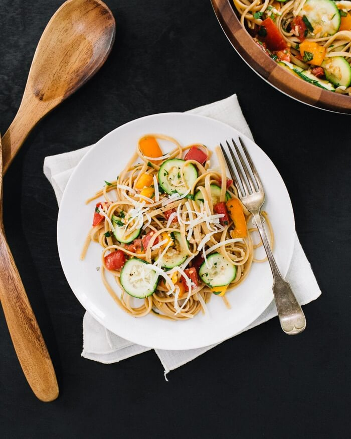 Simple Summer Pasta with Tomatoes, Zucchini and Parmesan | A Couple Cooks