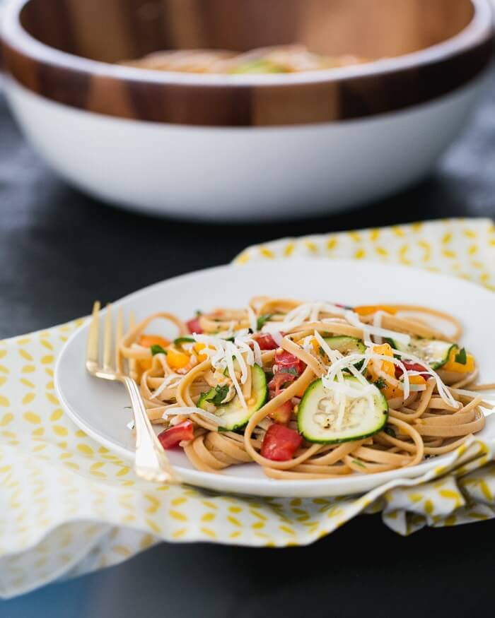 Simple Summer Pasta with Tomatoes and Zucchini | a Couple Cooks