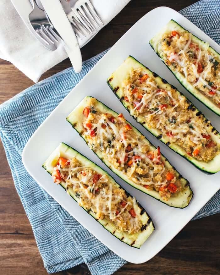 Quinoa Stuffed Grilled Zucchini | A Couple Cooks