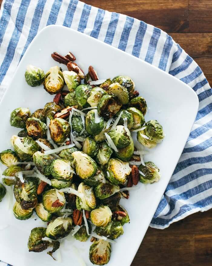 Roasted Brussels Sprouts with Pecorino and Pecans | A Couple Cooks