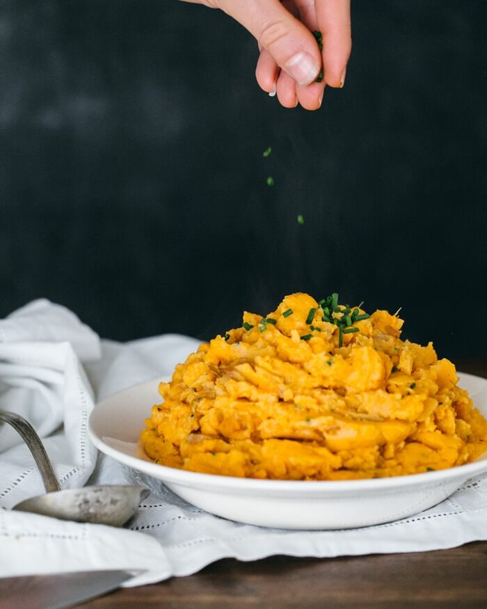 Garlic and Chive Mashed Sweet Potatoes | A Couple Cooks