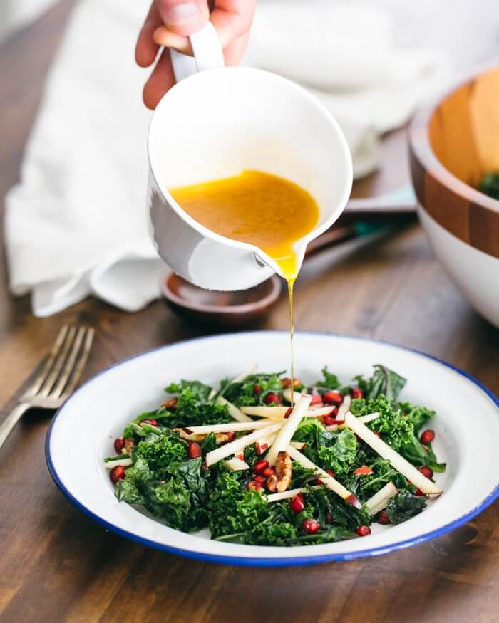 Massaged Kale Salad with Apple and Pomegranate | A Couple Cooks