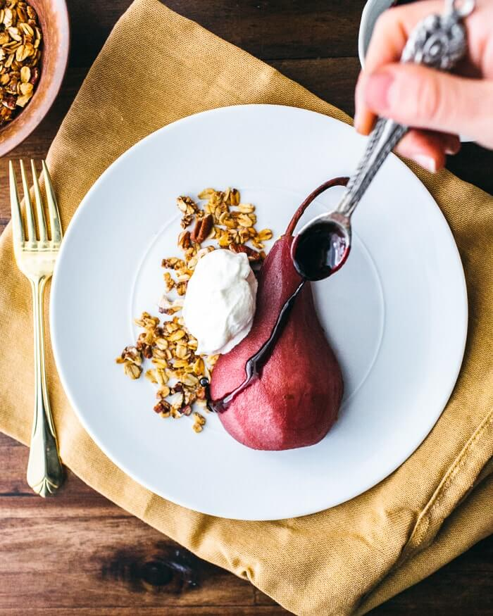 Poached Pears with Pecan Granola and Whipped Cream | A Couple Cooks