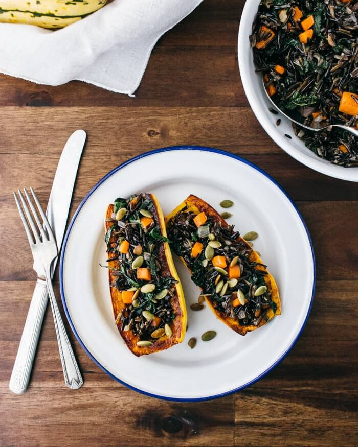 Delicata Squash Stuffed with Wild Rice, Brown Butter and Sage | A Couple Cooks