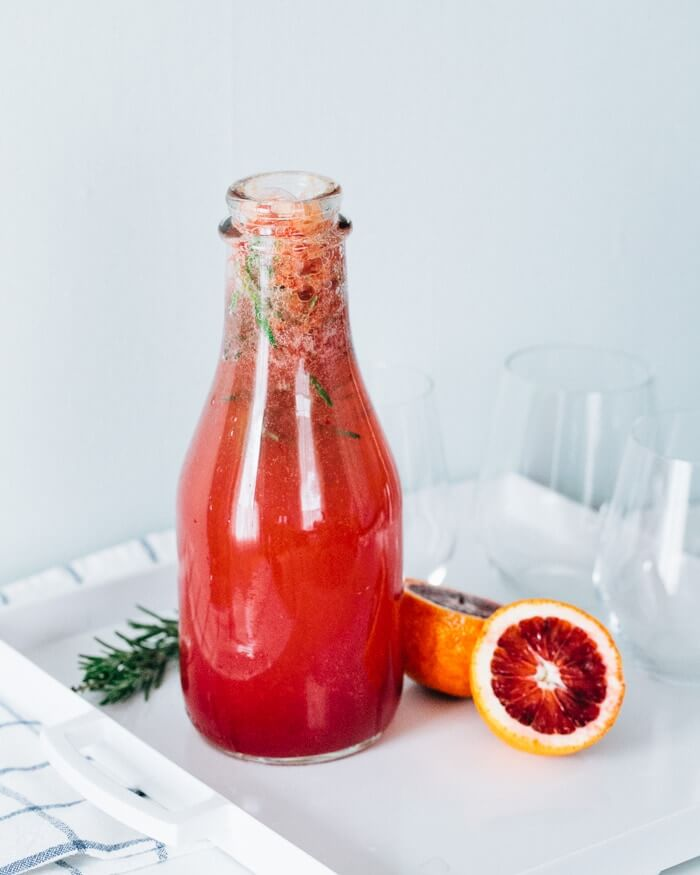 Sparkling Blood Orange Rosemary Water | Sparkling water recipes | Blood orange recipes