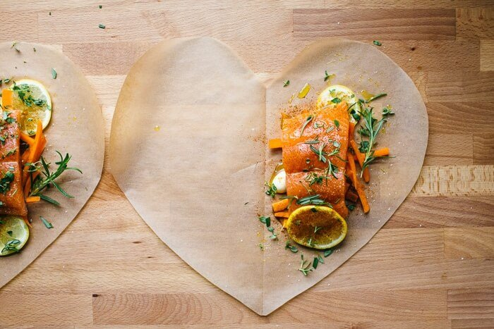 Salmon en Papillote with Roasted Potatoes | A Couple Cooks
