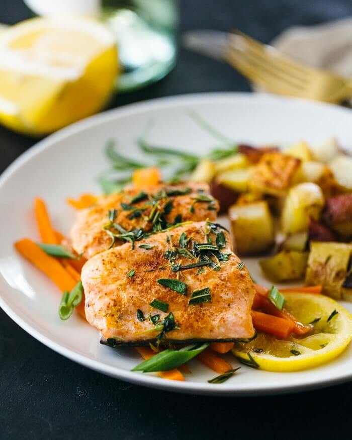 Salmon en Papillote with Roasted Potatoes