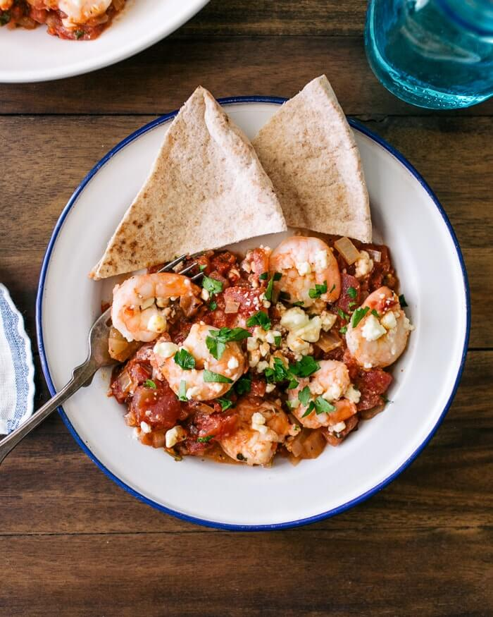 Baked Shrimp with Feta and Tomatoes | A Couple Cooks