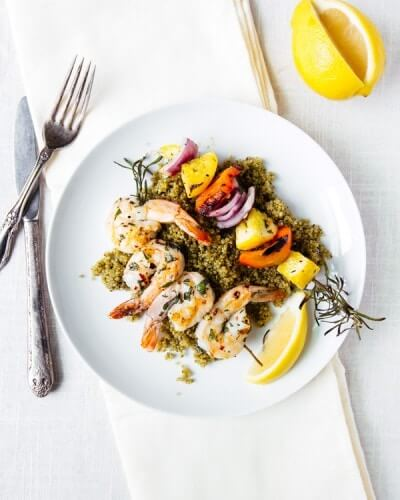 Grilled Shrimp and Vegetable Skewers with Pesto Quinoa | A Couple Cooks