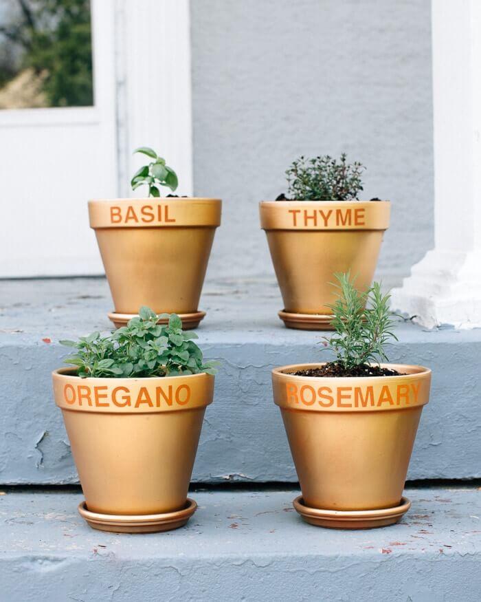 DIY Gold Herb Pots