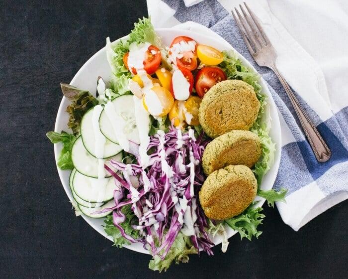 Baked Falafel Salad Bowl | Vegan falafel recipe