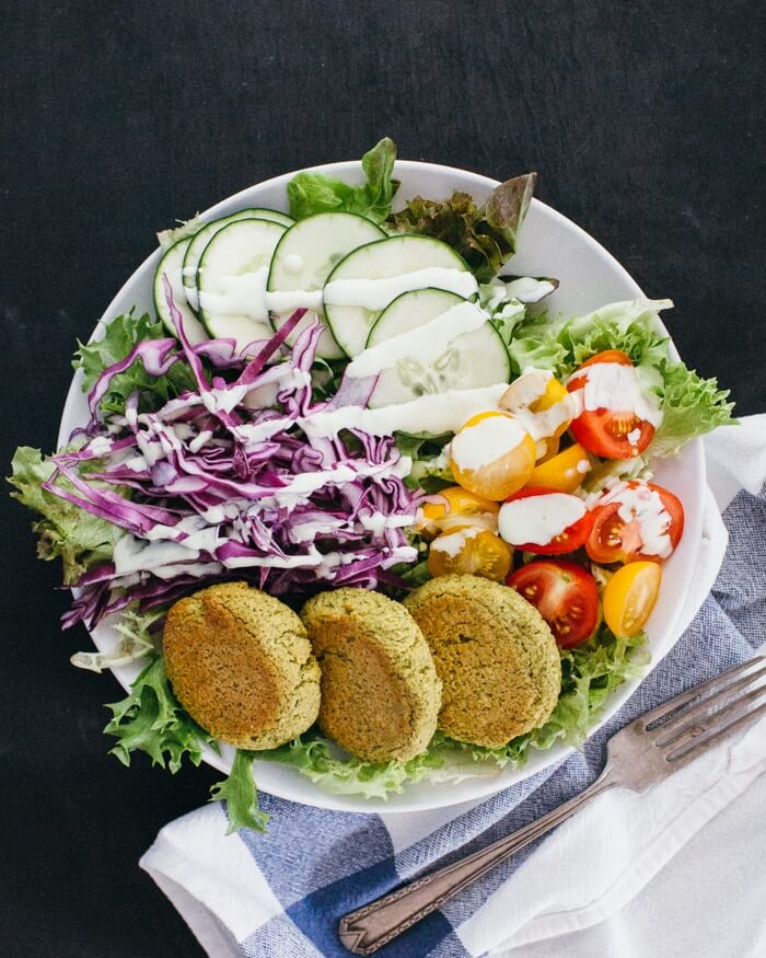 Baked Falafel Salad Bowl | A Couple Cooks