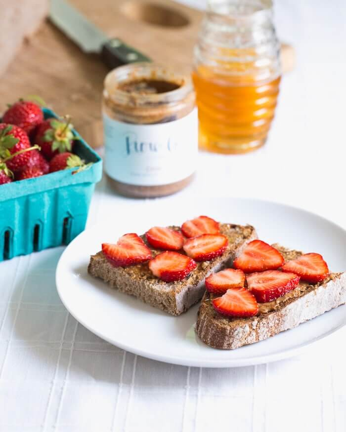 Almond Butter Toast with Strawberries & Honey | A Couple Cooks