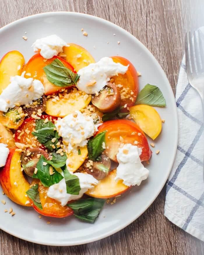 Peach, Heirloom Tomato and Burrata Salad | A Couple Cooks