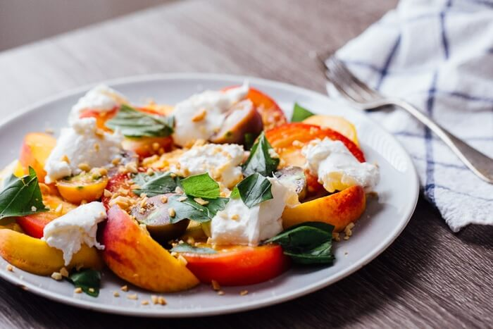 Peach, Heirloom Tomato, and Burrata Salad | A Couple Cooks