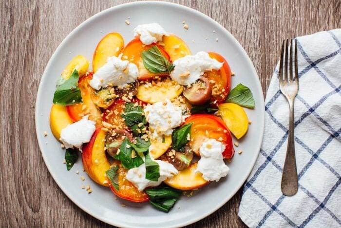 Peach, Heirloom Tomato, and Burrata Salad   A Couple Cooks