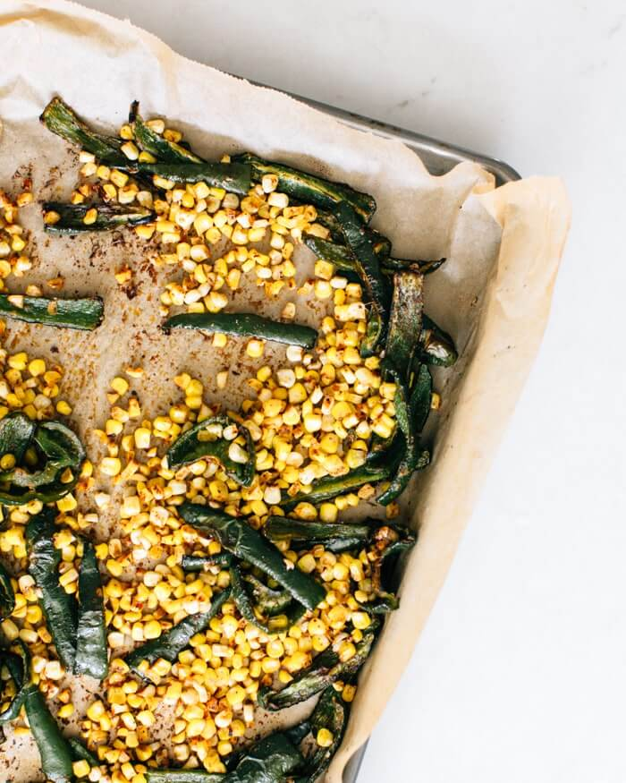 Roasted poblano peppers and corn