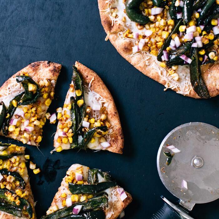 Roasted poblano and corn pizza