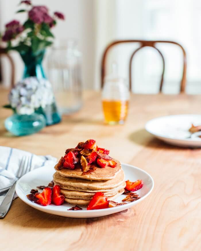 Banana Pancakes with Berries and Coconut Bacon | A Couple Cooks