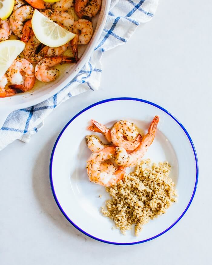 Lemon Herb Baked Shrimp & Garlic Herb Quinoa | A Couple Cooks