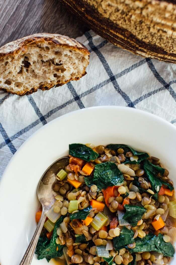 Hearty Sprouted Lentil Stew Recipe | What are sprouted lentils | Lacinato kale