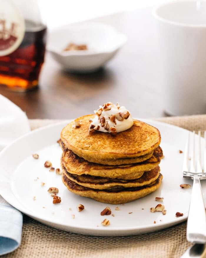 Pumpkin Pancakes with Maple Mascarpone | A Couple Cooks