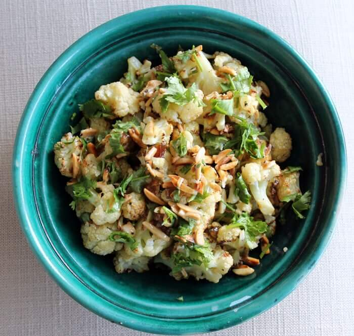 Roasted Cauliflower with Dates, Almonds & Tahini