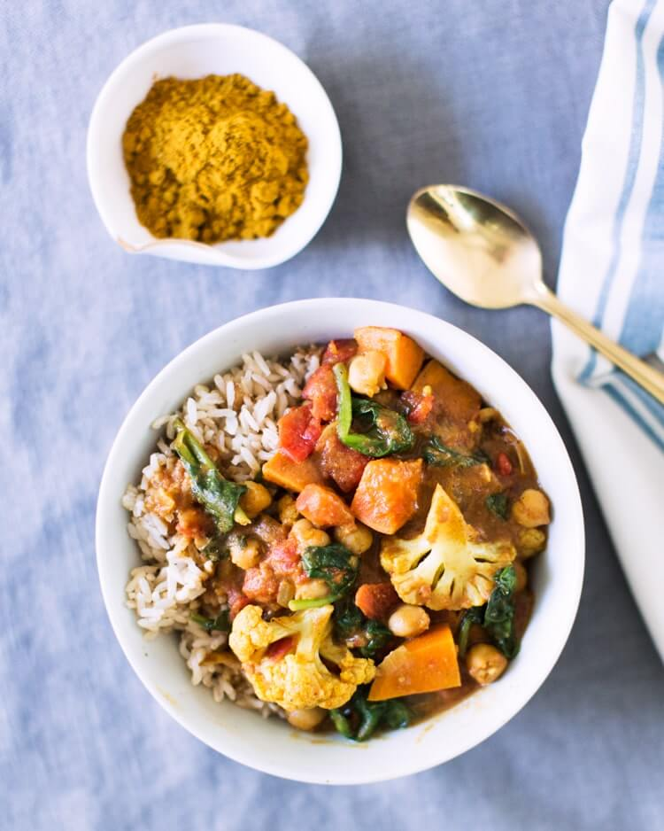 Tomato cauliflower coconut curry