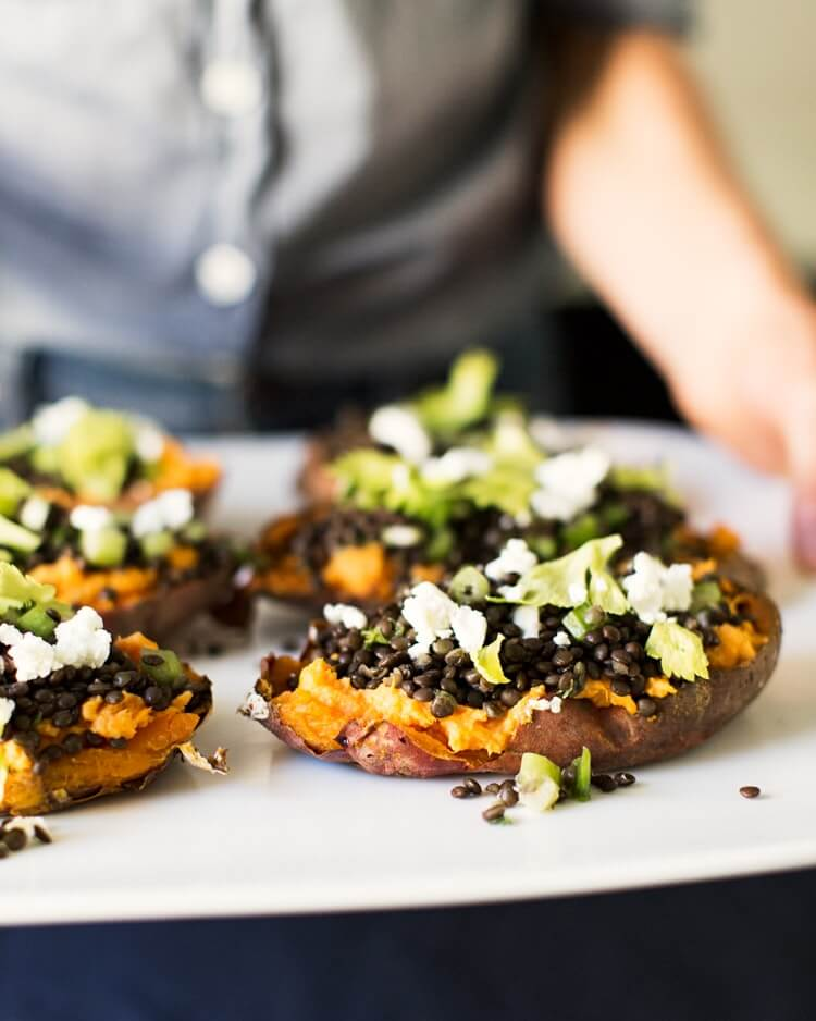 Lentil and Goat Cheese Stuffed Sweet Potatoes | Sweet potato dinner recipe