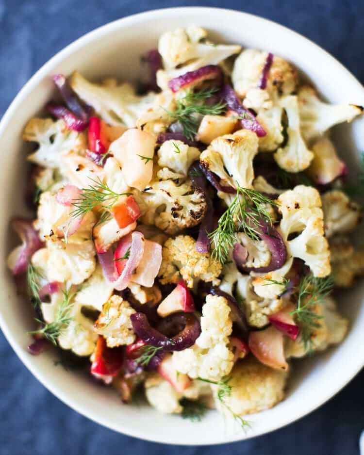 Roasted Apples & Cauliflower with Dill | Thanksgiving cauliflower recipe