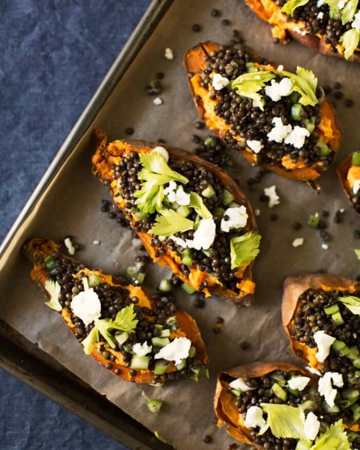 Sweet potatoes with goat cheese & lentils | Best lentil recipes