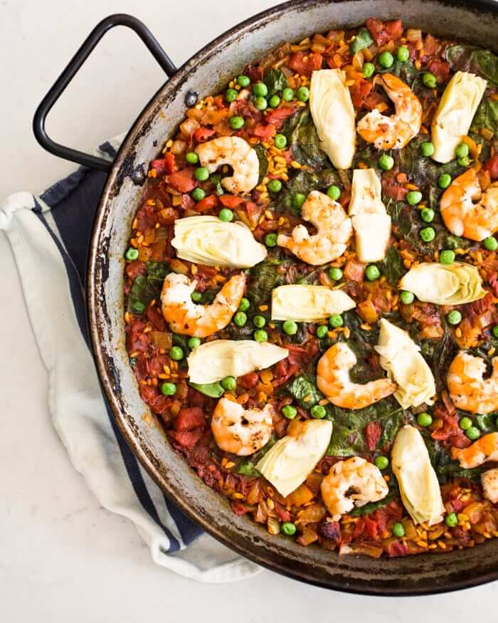 Simple Shrimp & Artichoke Paella | A Couple Cooks