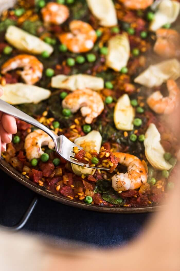 Easy Shrimp Paella with Artichokes