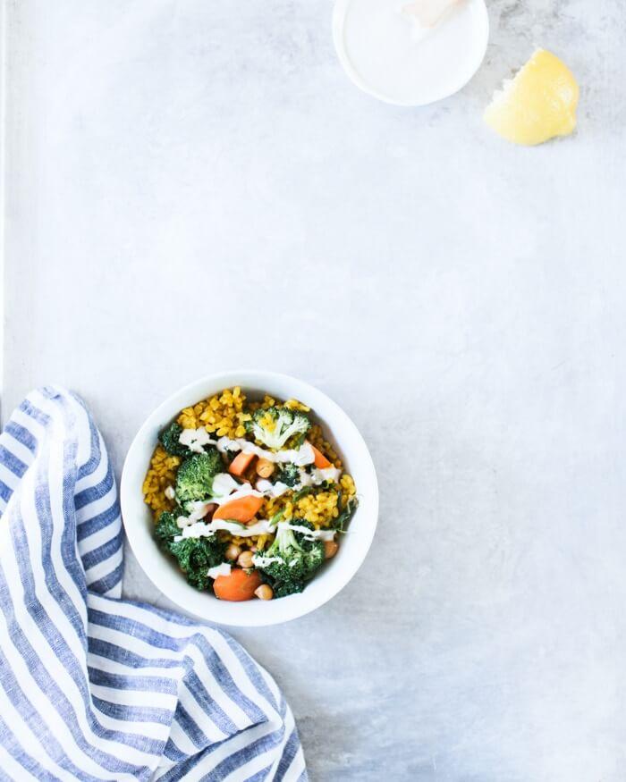 Broccoli and Turmeric Yellow Rice Bowls | Yellow rice recipe