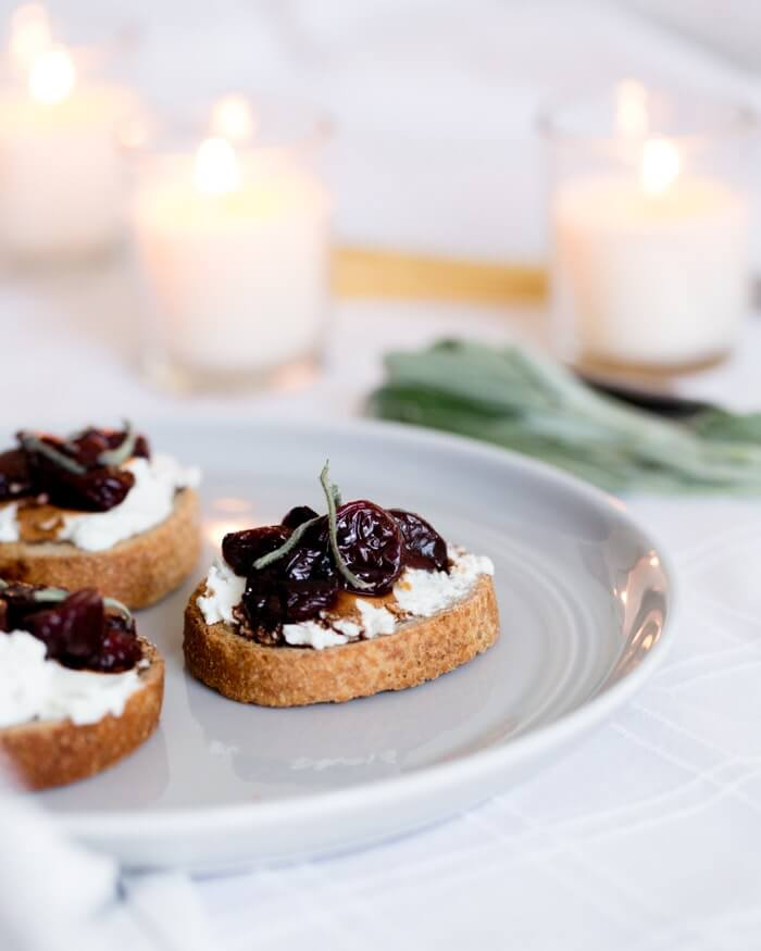 Cherry and Goat Cheese Crostini