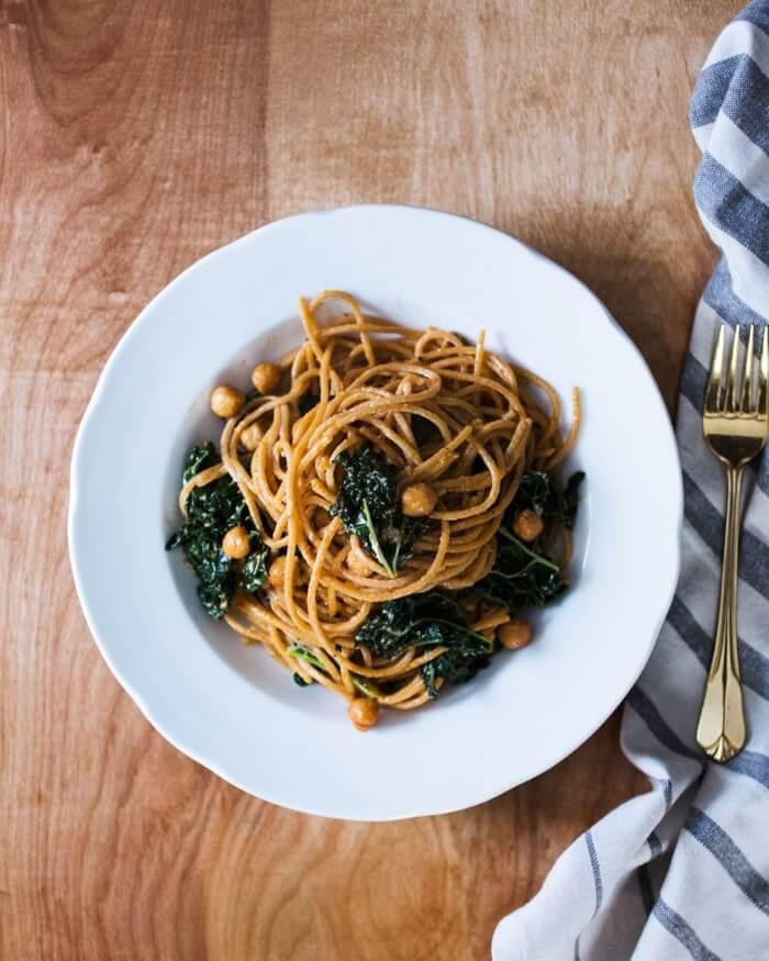 Spaghetti with Tuscan Kale & Chickpeas | A Couple Cooks