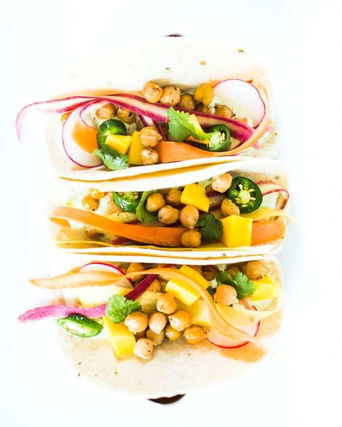 Chickpea & veggie tacos