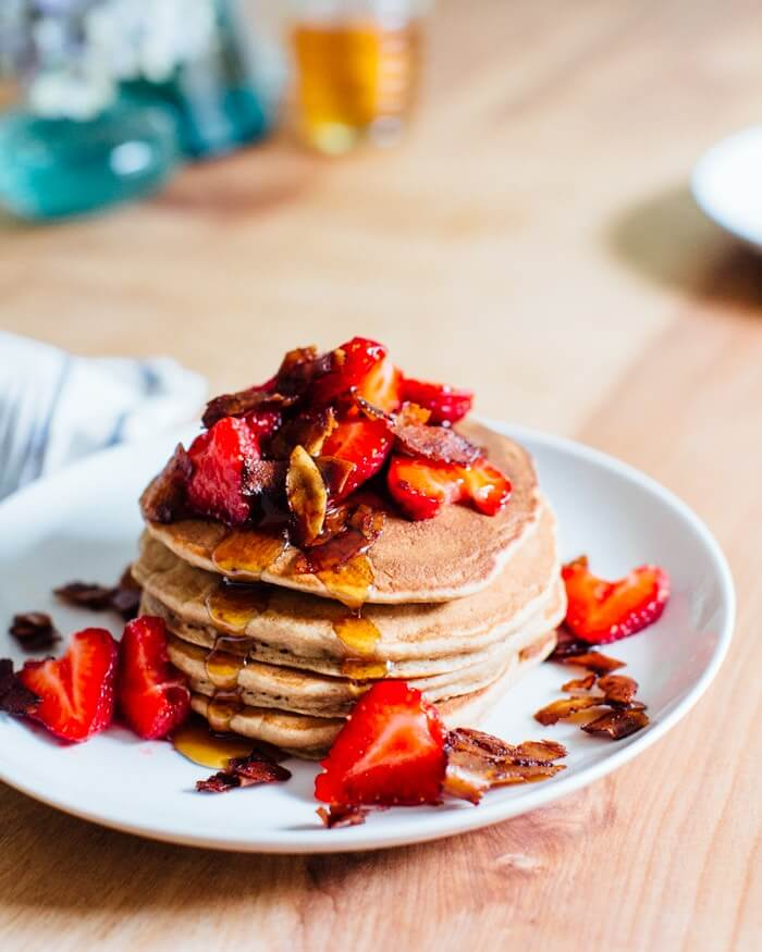 Banana Pancakes with Berries and Coconut Bacon | Mother's Day recipes
