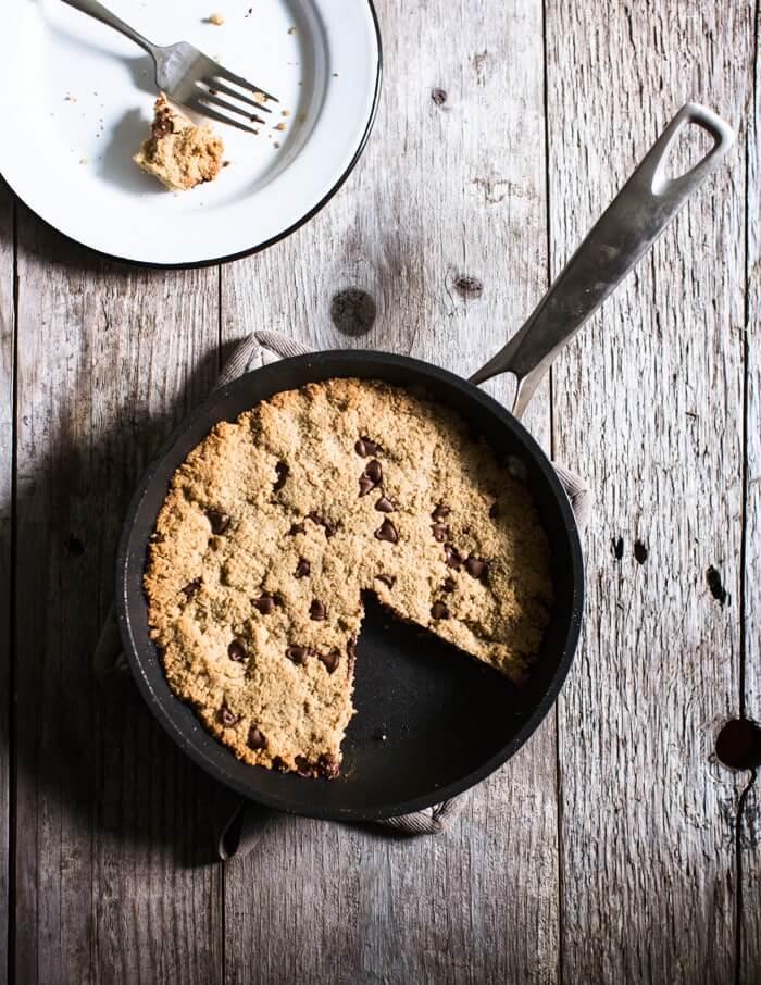 Skillet Chocolate Chip Almond Flour Cookies