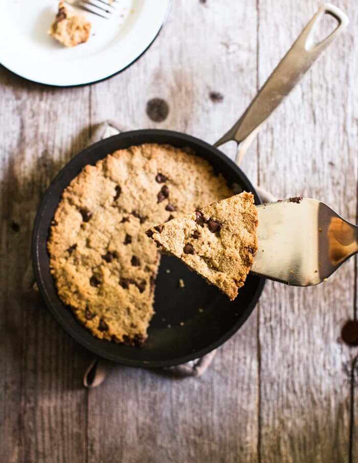 Skillet chocolate chip almond flour cookies