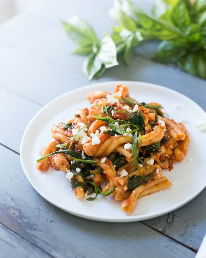 gemelli pasta recipe with Fire Roasted Tomatoes and Feta